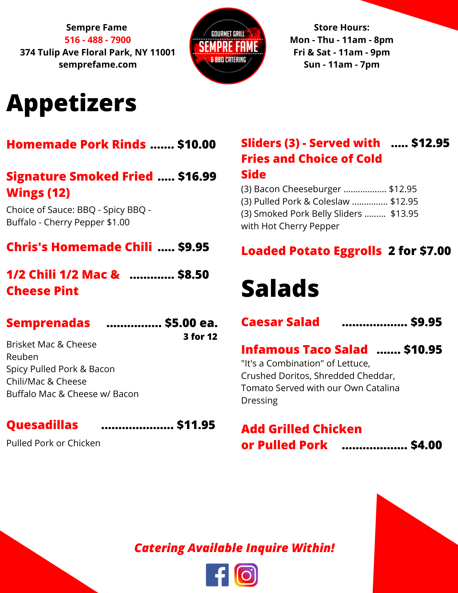 Appetizers & Salads Menu